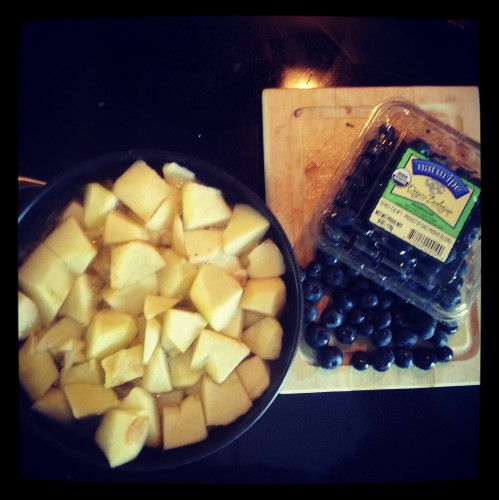 applesauce and blueberries